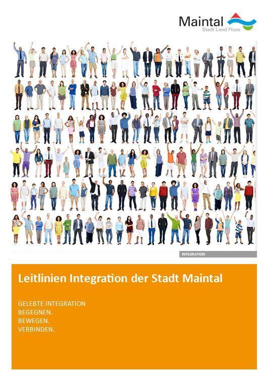 Externer Link zur PDF-Datei Leitlinien Integration der Stadt Maintal; Bild zeigt den Flyer, darauf sind Menschen unterschiedlichster Herkunft zu sehen