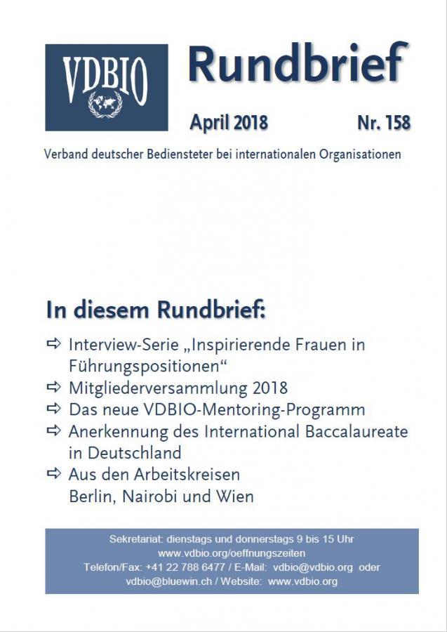 Deckblatt VDBIO-Rundbrief Nr. 158