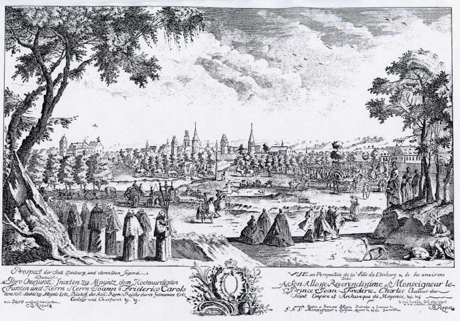 Bartélemy de la Roque, Stadtansicht Dieburgs mit Widmung für den Mainzer Kurfürsten Johann Friedrich Karl von Ostein