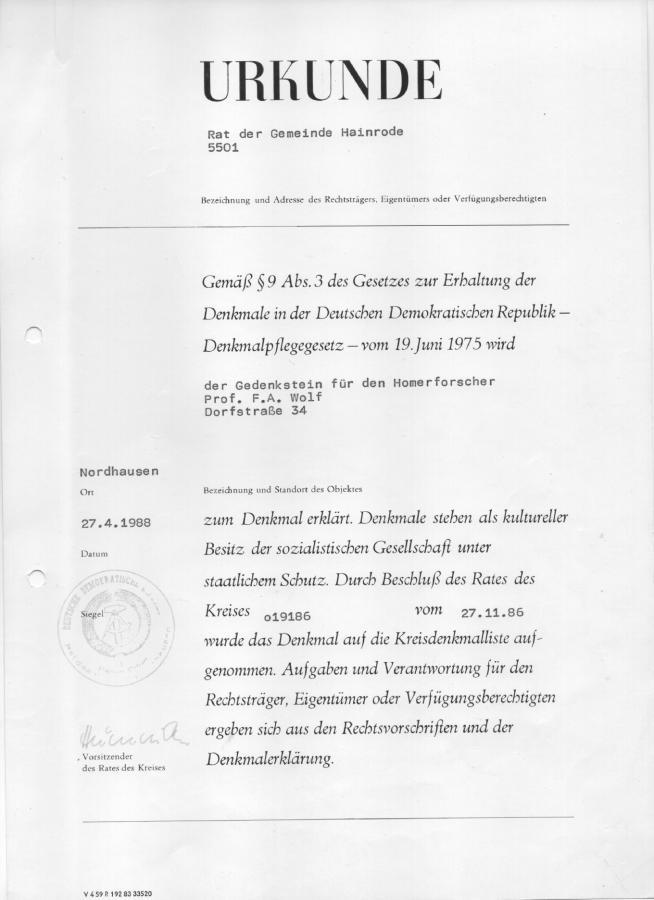 Gedenkstein F A Wolf Urkunde