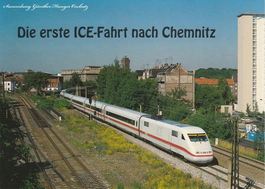 Der ICE durchfährt den Bahnhof Chemnitz-Süd