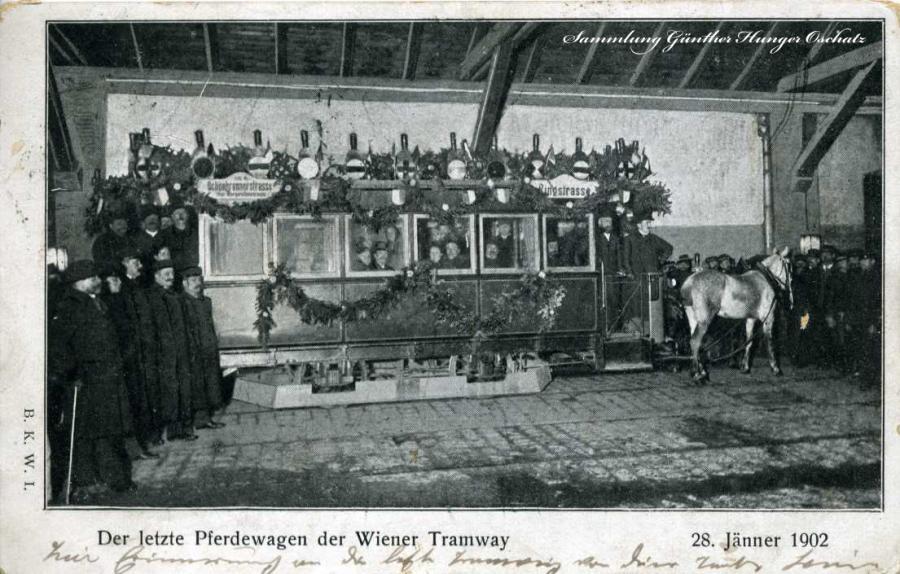 Der letzte Pferdewagen der Wiener Tramway 1902