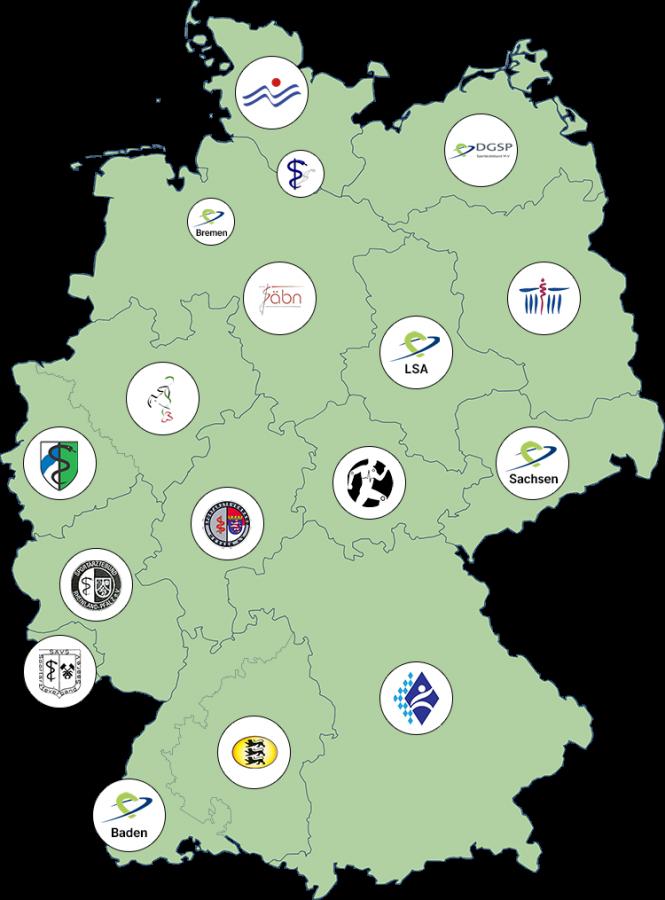 Die DGSP-Landesverbände auf Deutschlandkarte