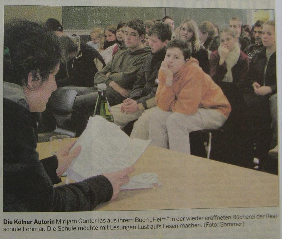 """Die Kölner Autorin Miriam Günter las aus dem Buch """"Heim"""""""