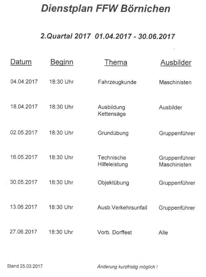 Dienstplan Qu2/2017