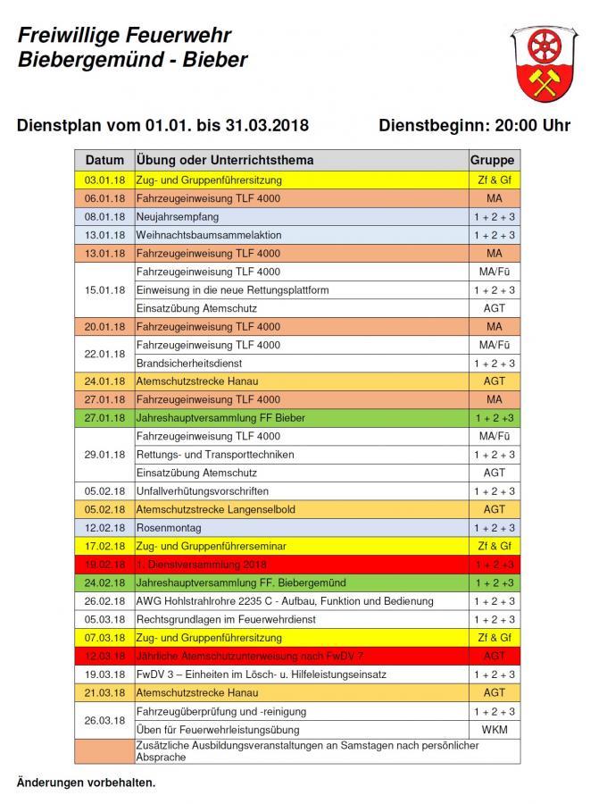 Dienstplan 01/2018