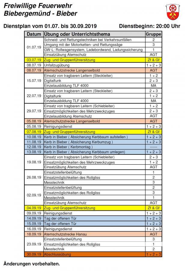 Dienstplan FFB 03/2019