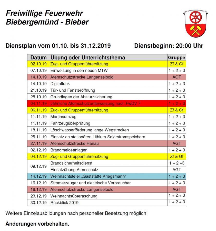 Dienstplan FFB 04/2019