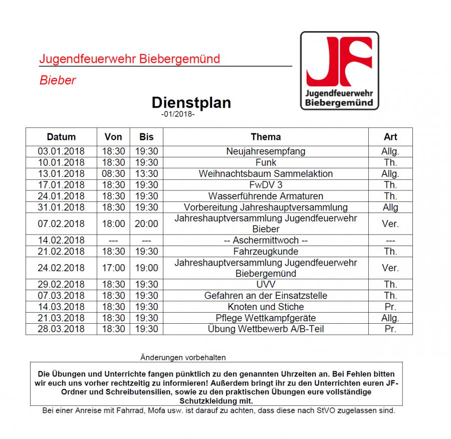 Dienstplan JF 01/2018