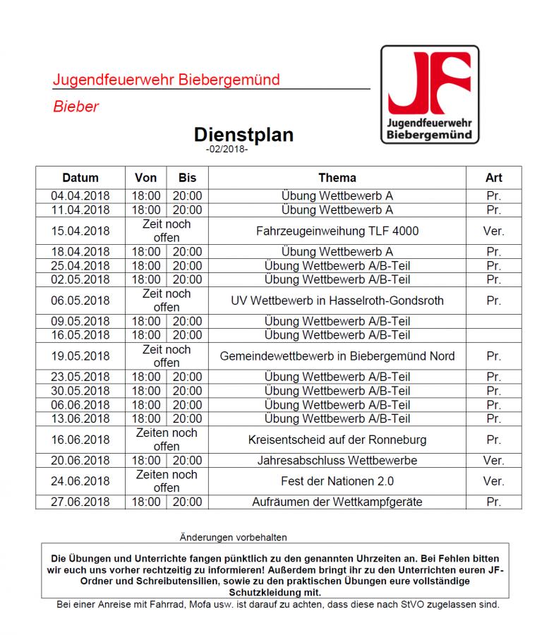 Dienstplan JF 02/2018