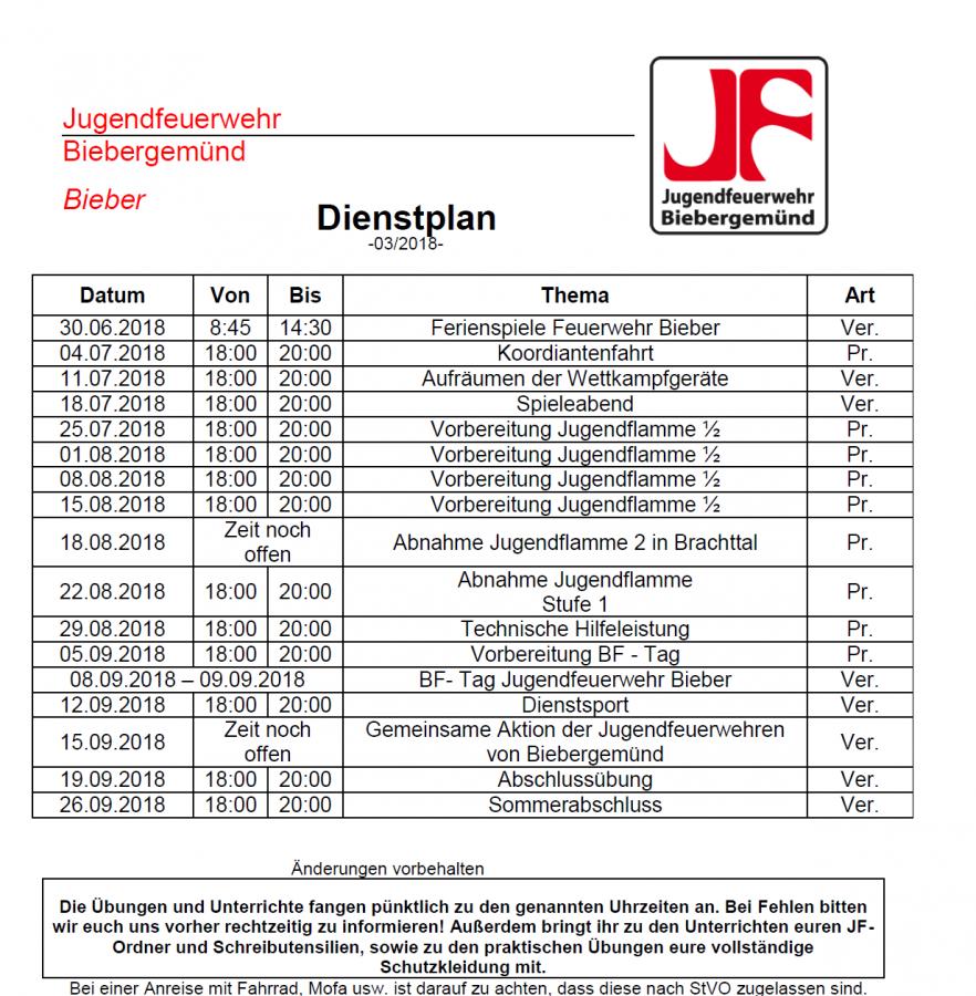 Dienstplan JF 03/2018