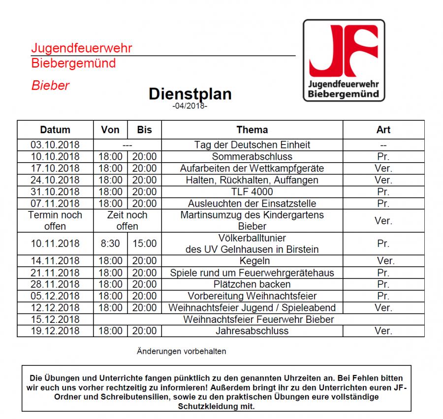 Dienstplan JF 04/2018