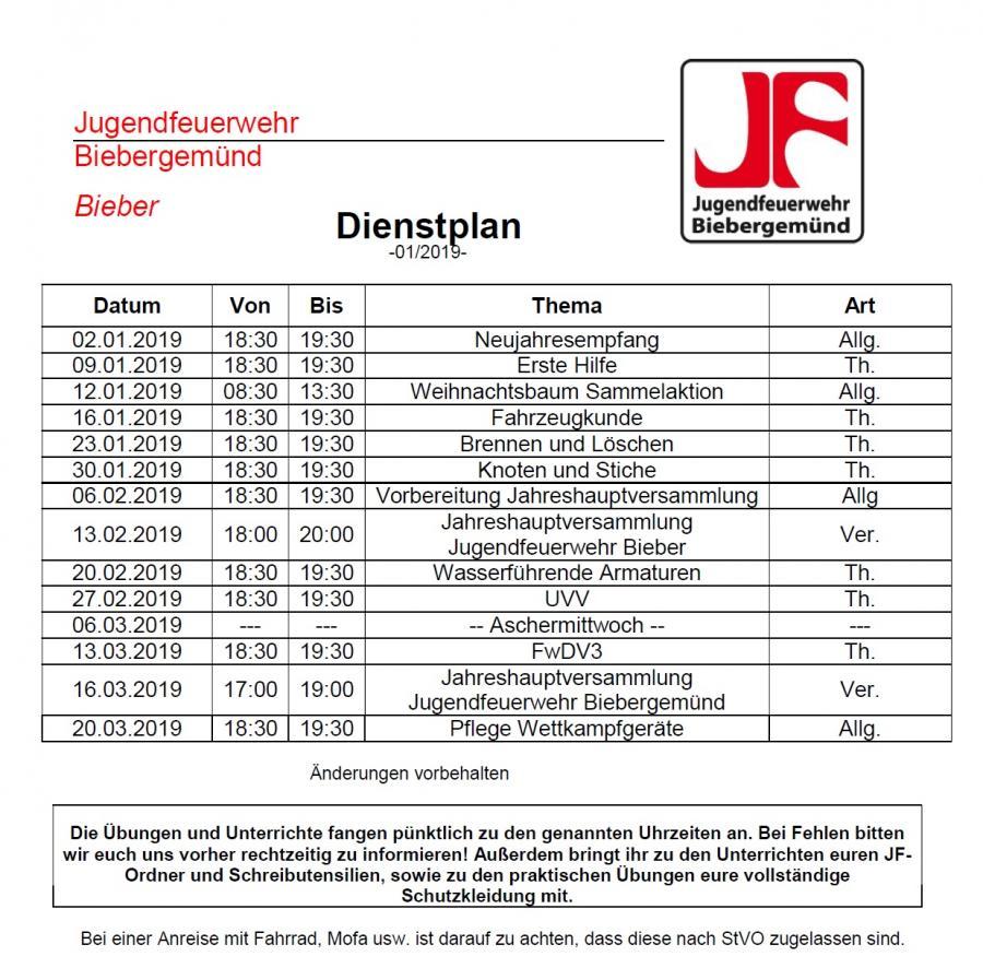 Dienstplan JF 01/2019