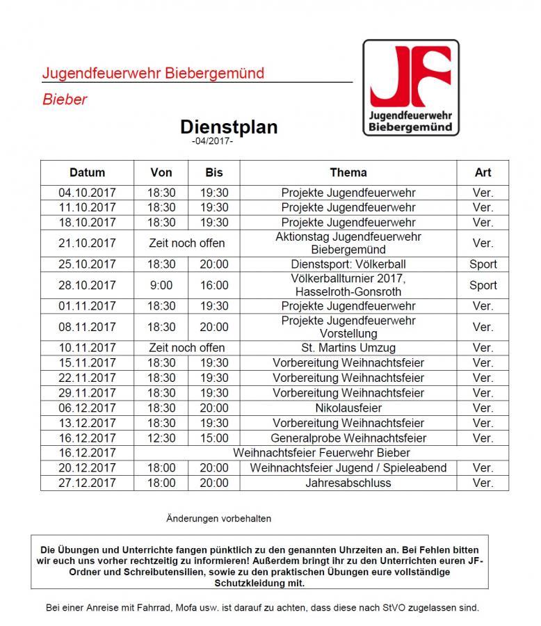 Dienstplan der JF 04/2017