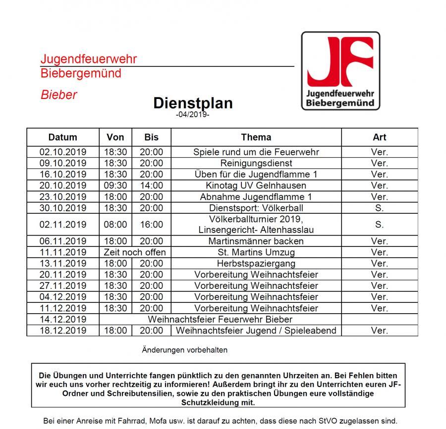 Dienstplan JF 04/2019