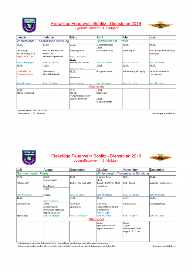 Dienstplan 19 JFW