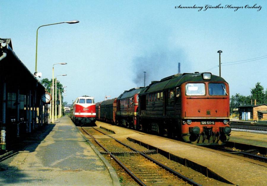 Diesellokomotiven 118 802 und 120 164 + 120 137