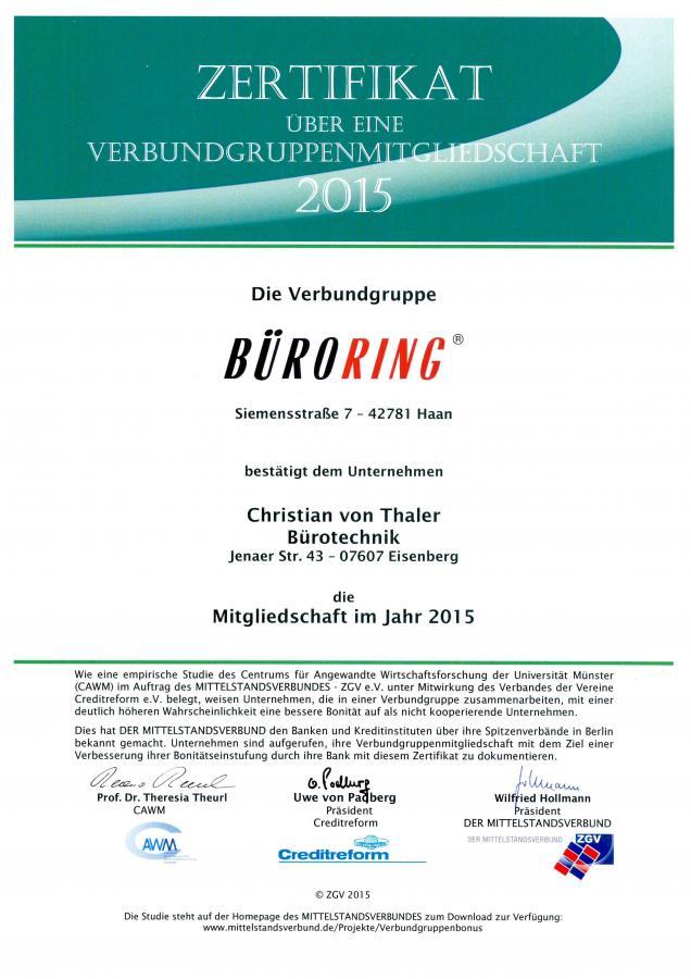 Zertifikat Büroring 2015