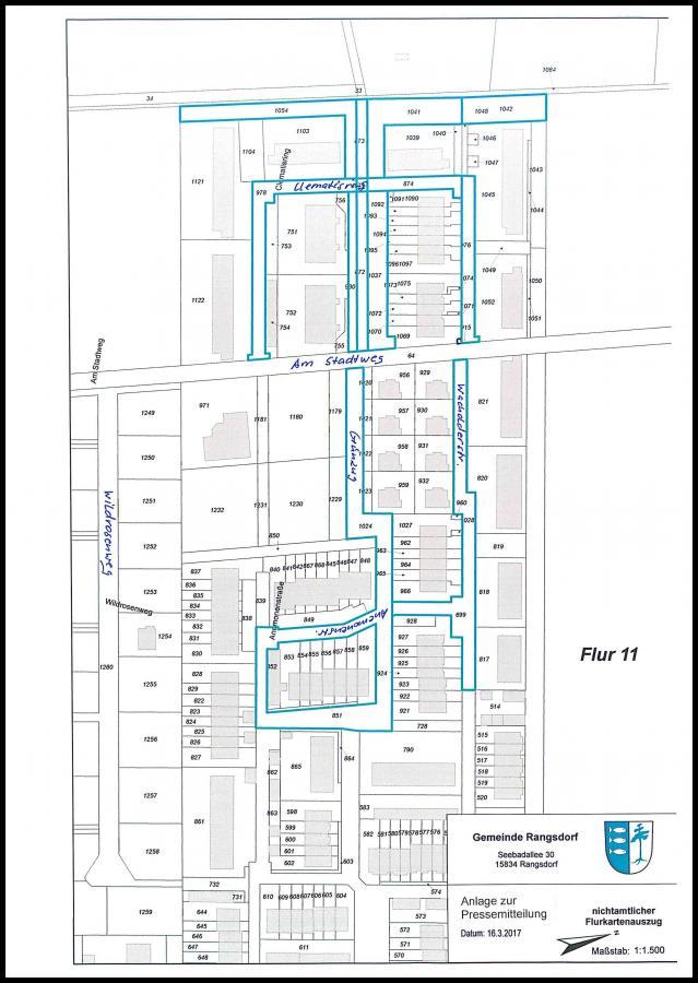 © Gemeinde Rangsdorf - Karte zur Pressemitteilung des Bürgermeisters vom 16.03.2017