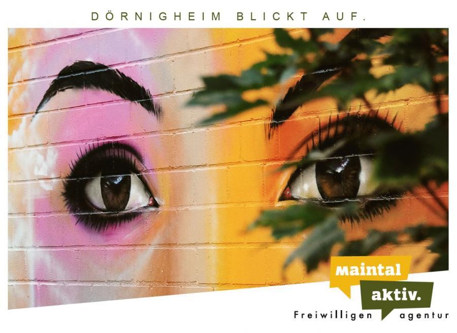 """Link führt zur PDF-Datei der Motiv-Postkarte """"Dörnigheim blickt auf"""""""