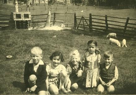 Dorf-und Stadtkinder auf einer Spielwiese mit Ferkeln