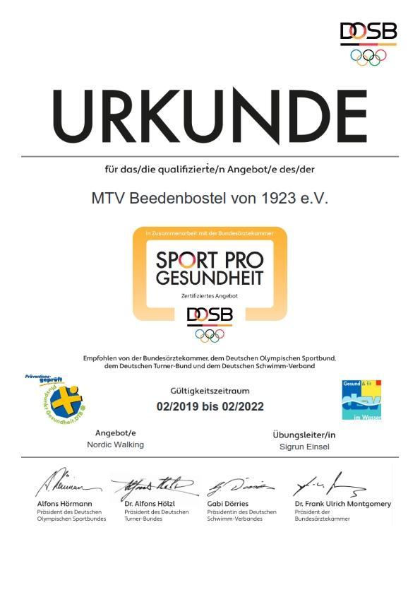 DOSB-Zertifikat Nordic Walking