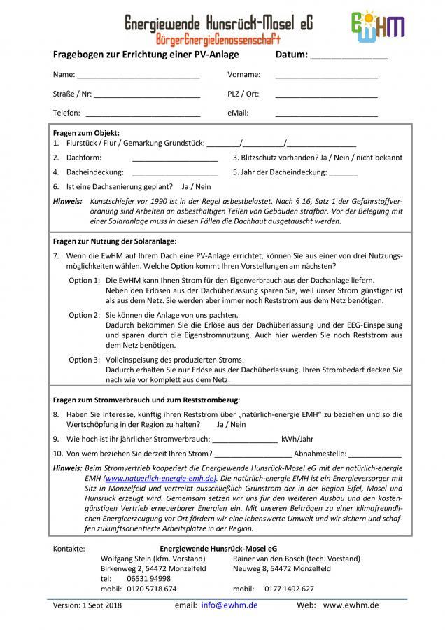 Fragebogen zur Errichtung einer PV-Anlage