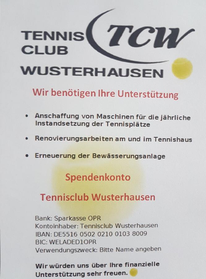 Spendenkonto Tennisclub Wusterhausen