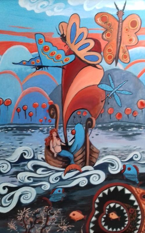 Fisch mit Möpsen und noch einer segeln2018 Öl/Acryl auf Leinwand  100 x 140 cm