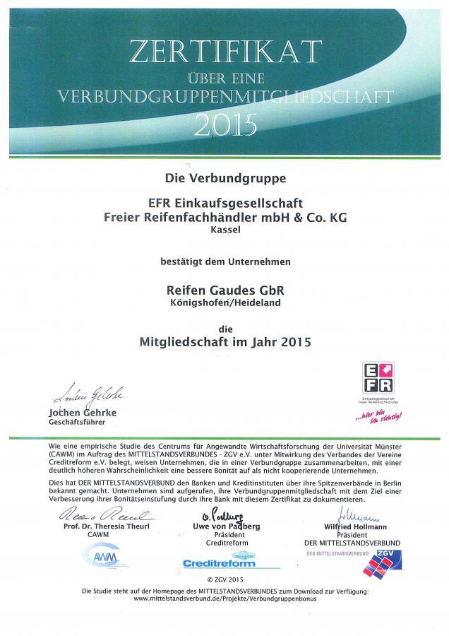 EFR Zertifikat 2015