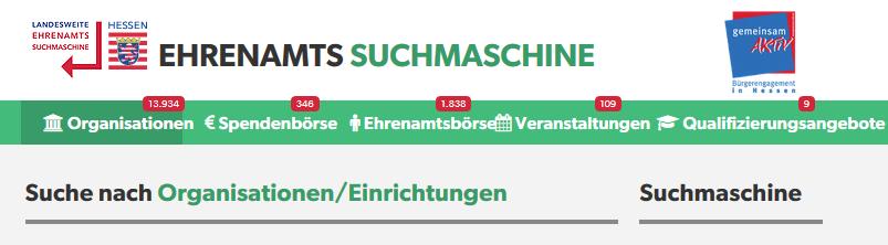 Ehrenamtssuchmaschine des Landes Hessen