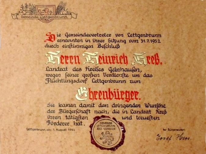 1952 Ehrenbürger Landrat Heinrich Kreß
