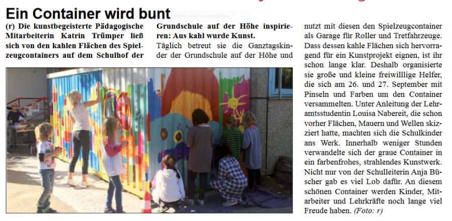 Ein Container wird bunt - Artikel Stadtteilzeitung November 2018