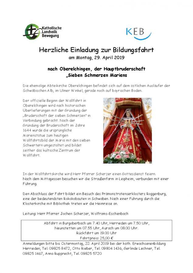 Einladung Fahrt Oberelchingen