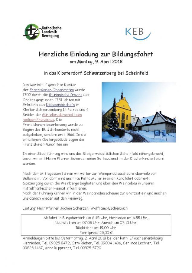 Einladung Fahrt Scheinfeld