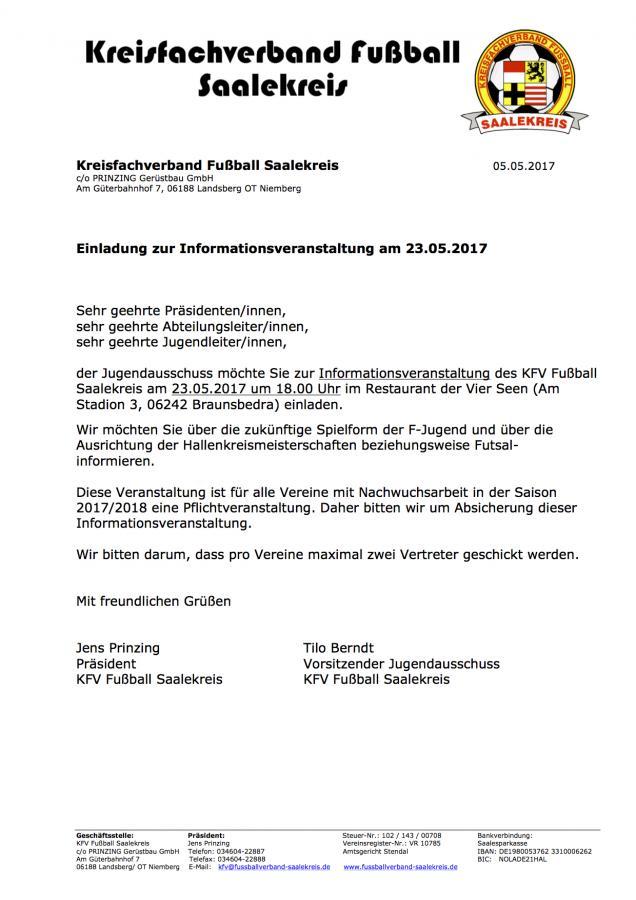 kreisfachverband fußball saalekreis - jugendausschuss kfv fußball, Einladung