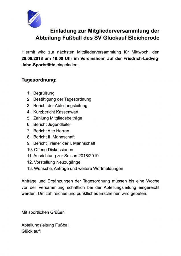Einladung zur Mitgliederversammlung der Abt. Fußball