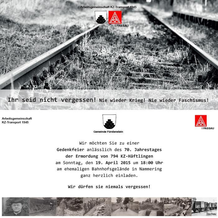 Gedenkfeier anlässlich des 70. Jahrestages der Ermordung von 794 KZ-Häftlingen in Nammering