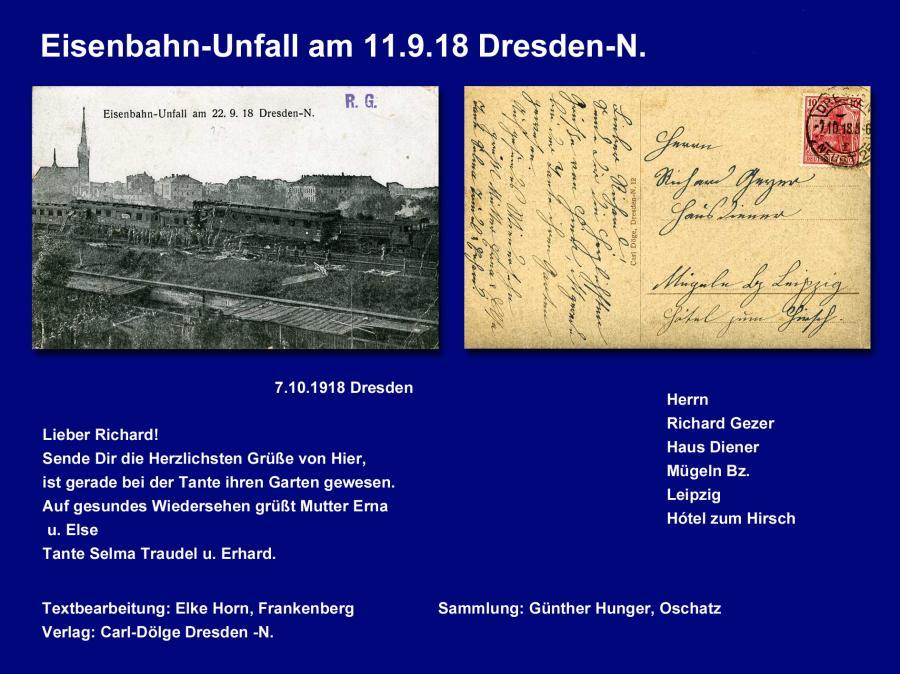 Eisenbahn-Unfall am 11.9.18 Dresden-N.