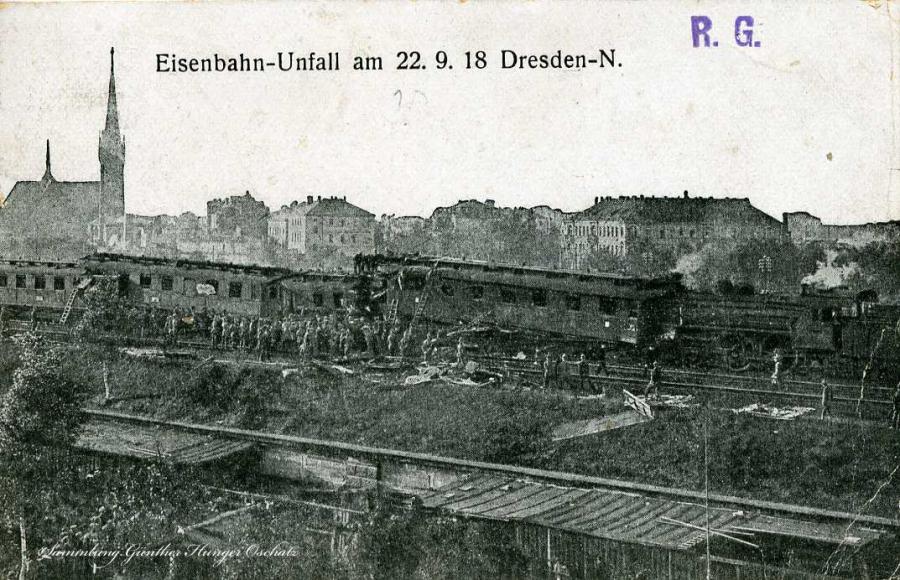 Eisenbahn-Unfall am 22.9.18 Dresden-N.