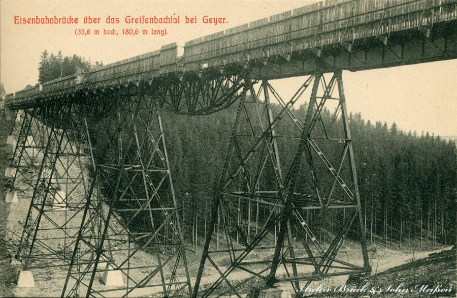 Eisenbahnbrücke  über Greifenbachtal bei Geyer