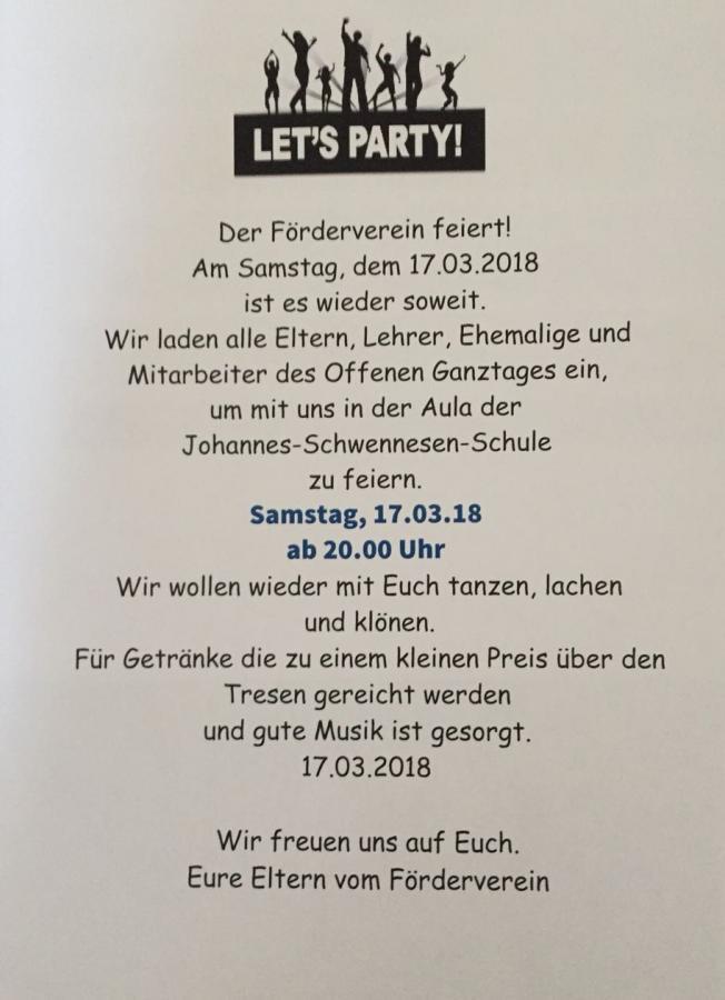 Elternparty 17. März 2018