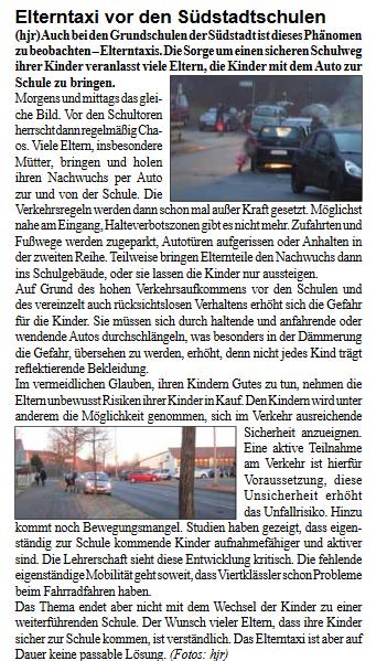 Elterntaxi - Artikel aus Stadtteilzeitung - März 2017