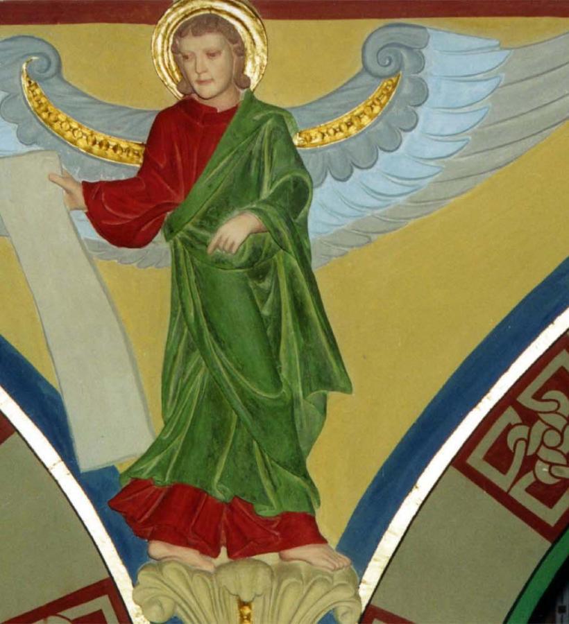 Engel mit Schriftrolle Langhaus Nordseite