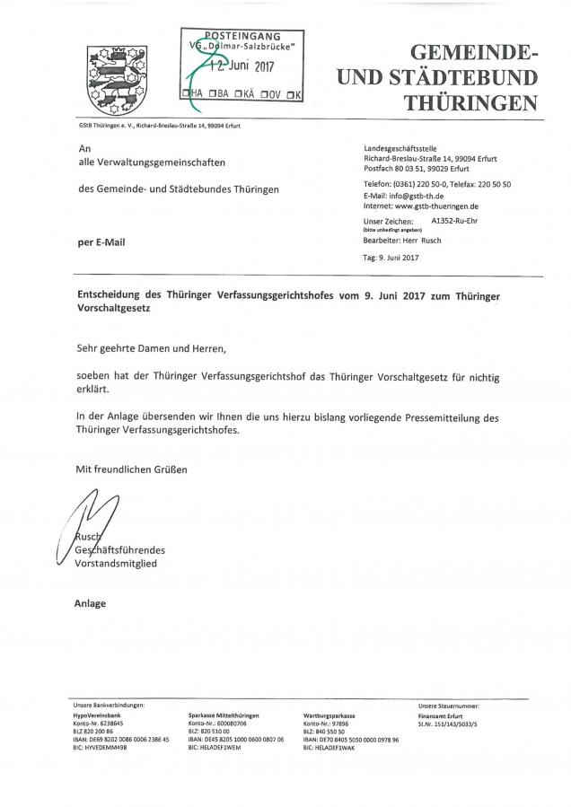 Entscheidung Thür. Verfassungsgerichtshof zum Vorschaltgesetz S. 1