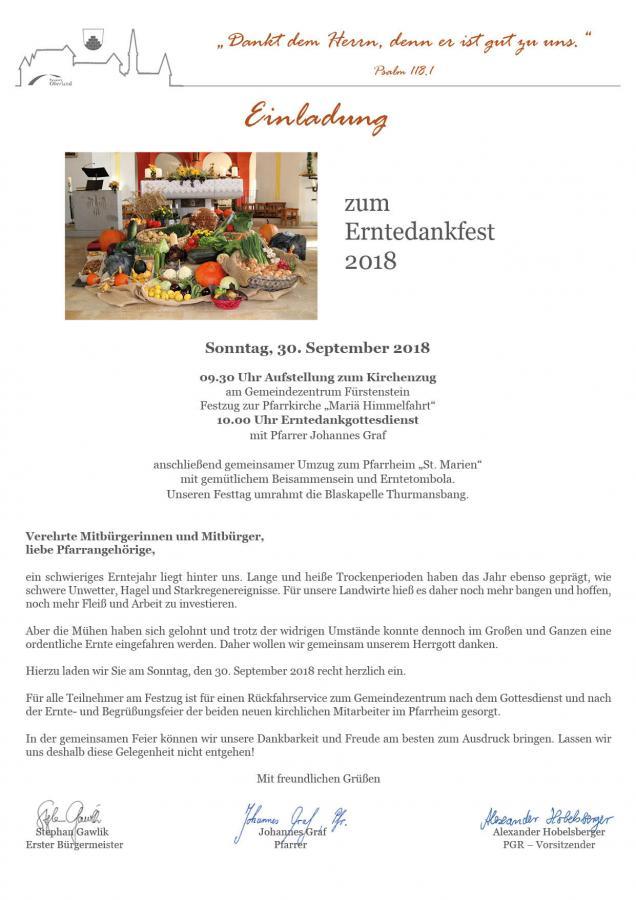 Erntedank Fürstenstein