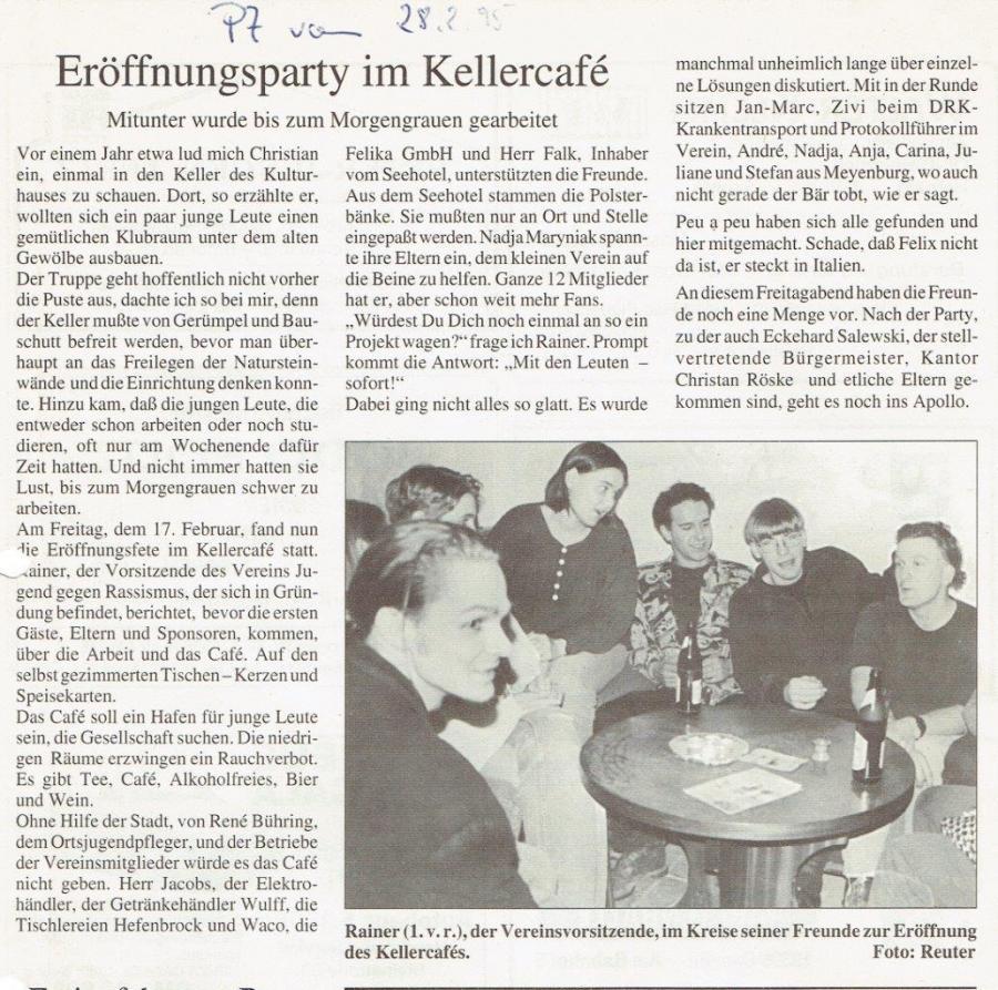 Eröffnung Kellercafe Februar 1995