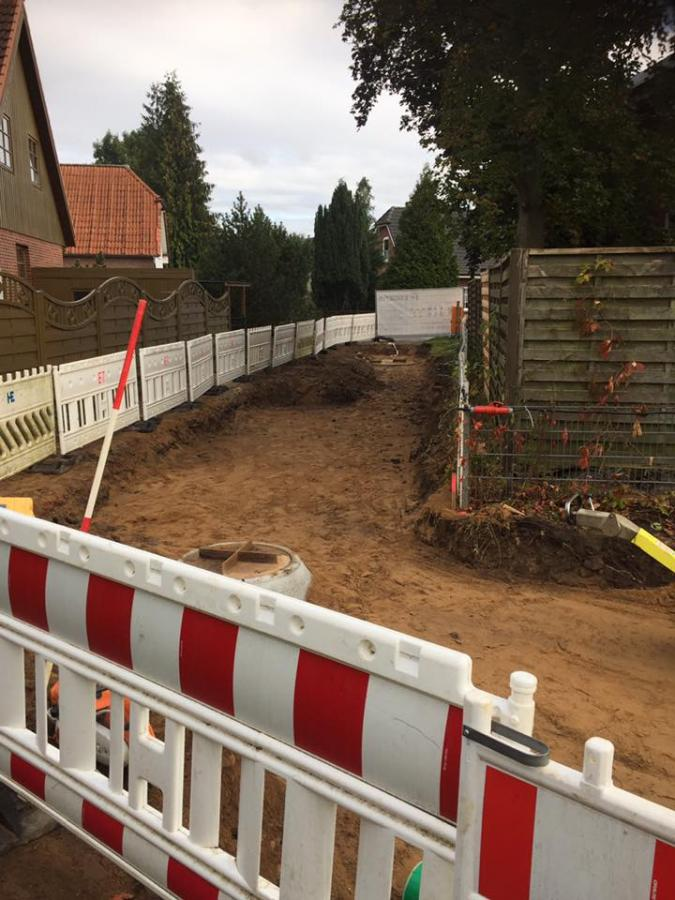 Verlegung der Schmutzwasserleitungen
