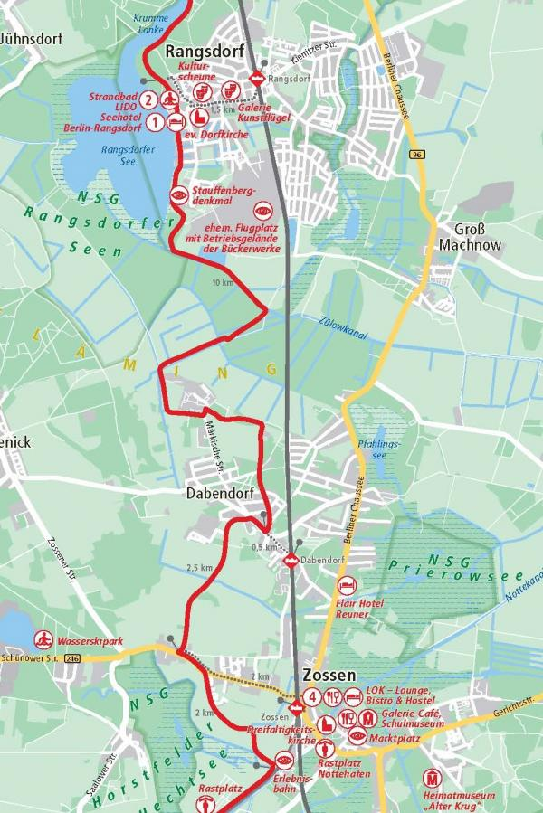 2. Etappe Rangsdorf - Zossen 19 km