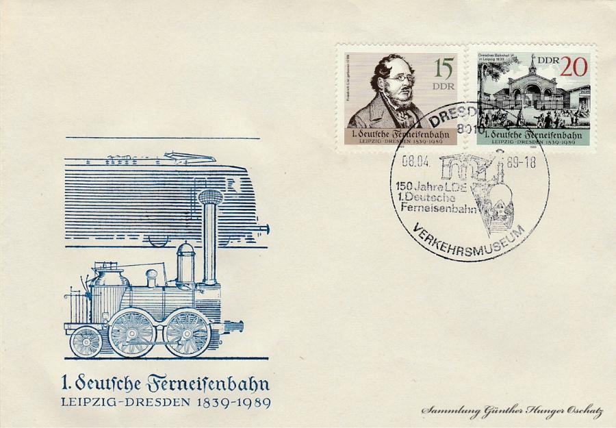 1. deutsche Ferneisenbahn  Leipzig-Dresden 1839-1989